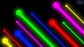 Обои лучи, линии, свет, разноцветные, круги, фон, черный, заставка, абстракции, разное