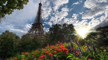 Бесплатные фото парк,цветы,трава,солнце,небо,облака,сооружение