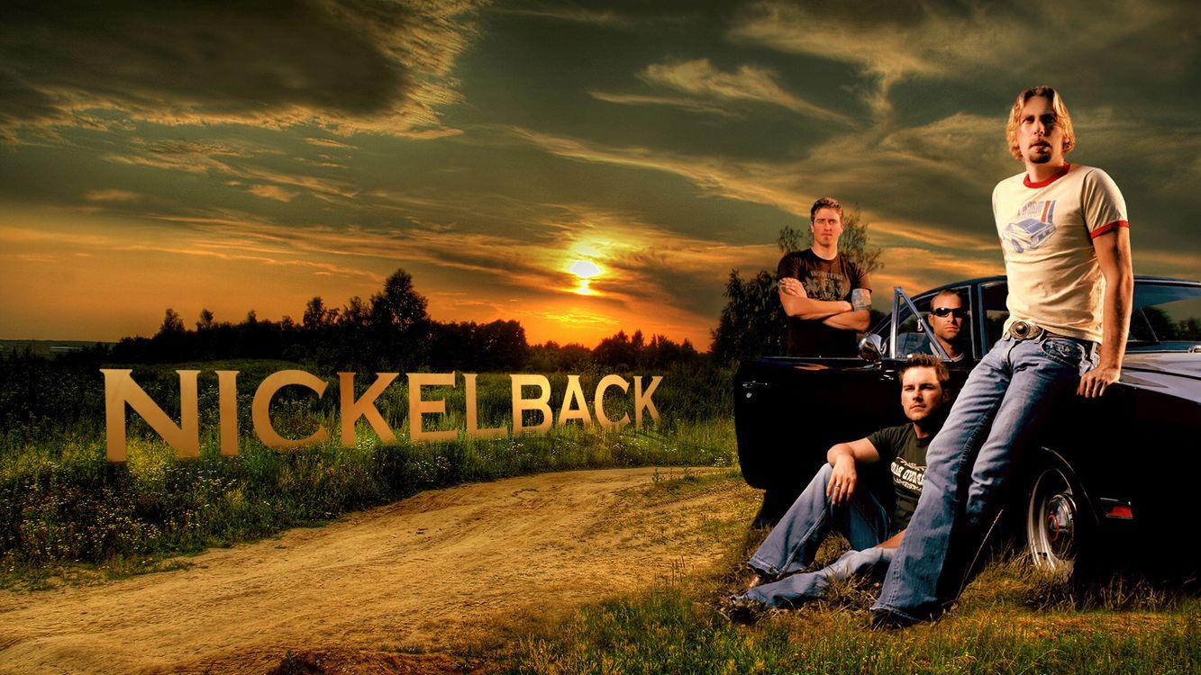 Фото бесплатно парни, nickelback, группа, музыкальная, закат, постер, дорога, небо, асфальт, мужчины, мужчины