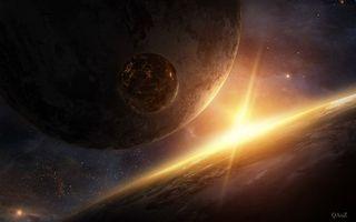 Фото бесплатно планета, спутники, лучи