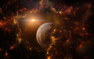 Бесплатные фото планета,звезды,темнота,газ,лучи,краснота,огонь