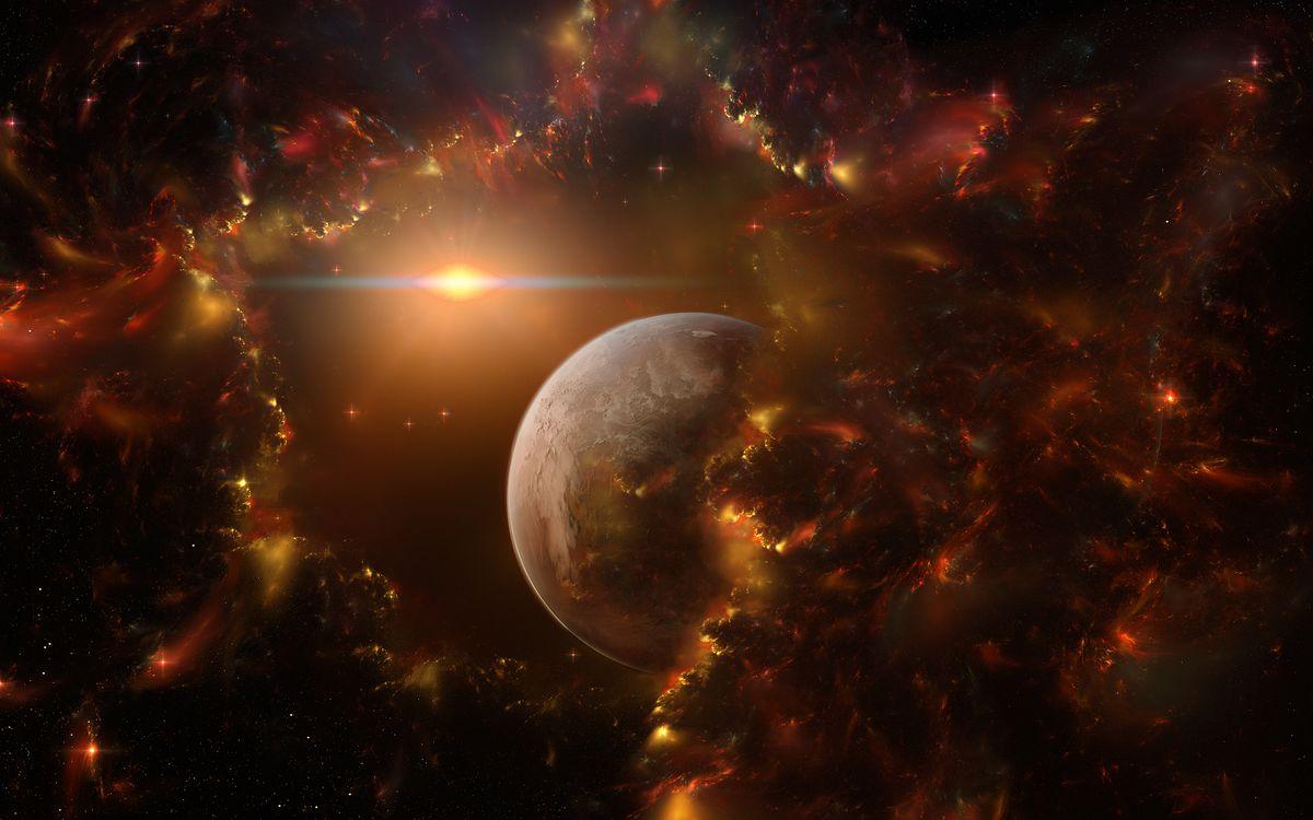 Фото бесплатно планета, звезды, темнота - на рабочий стол