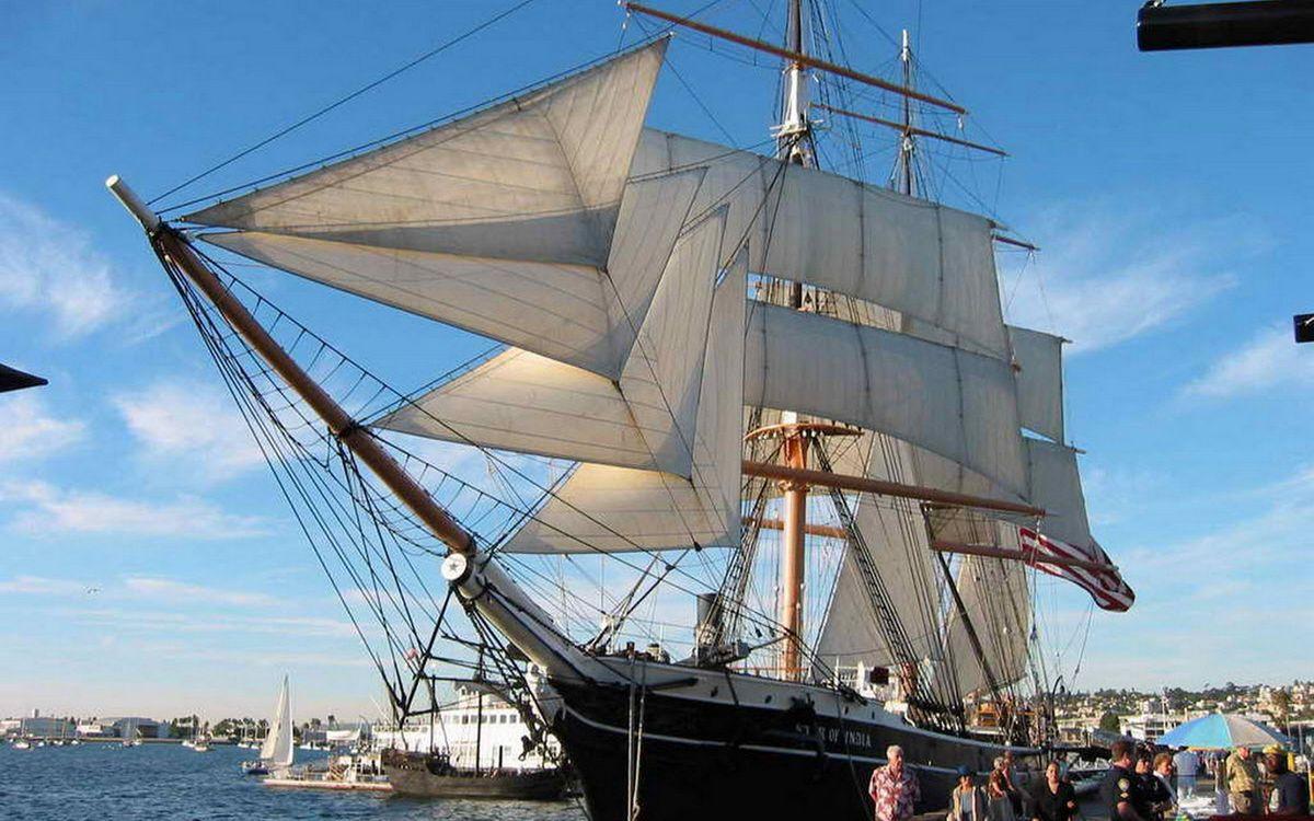 Фото бесплатно порт, паруса, мачты, корабль, вода, море, разное, корабли