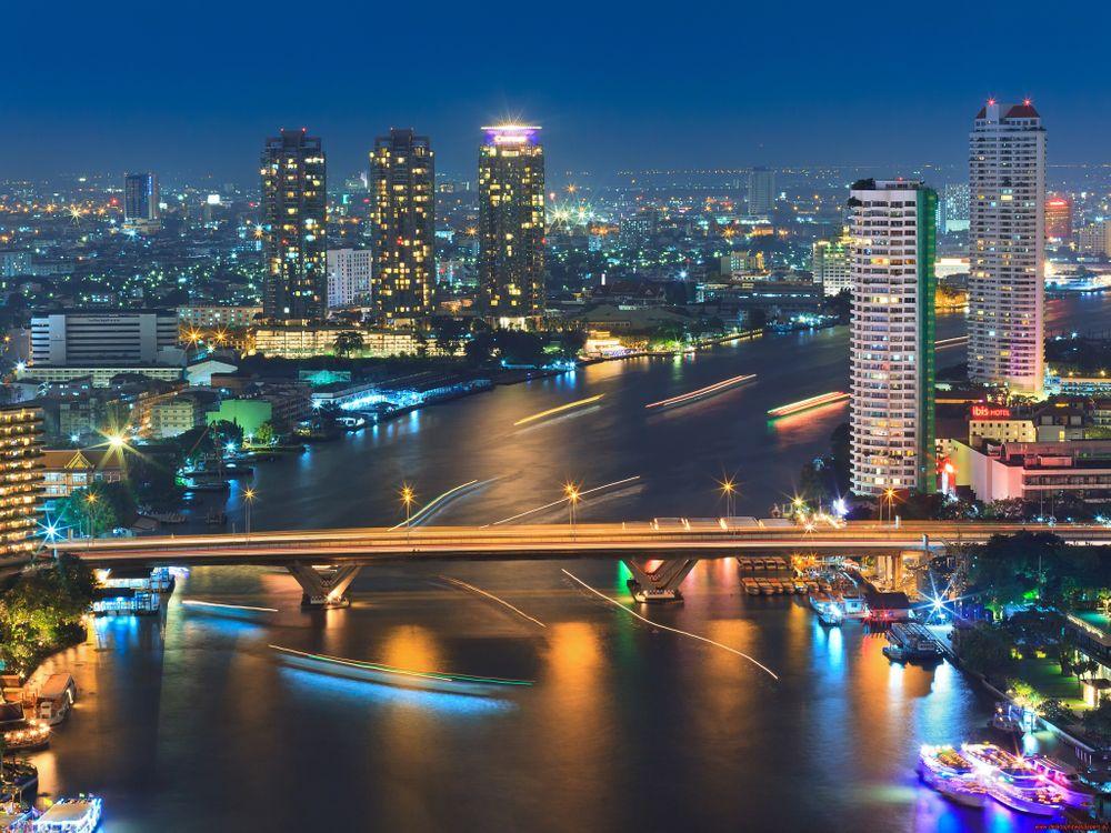 Обои бангкок, река, мост картинки на телефон