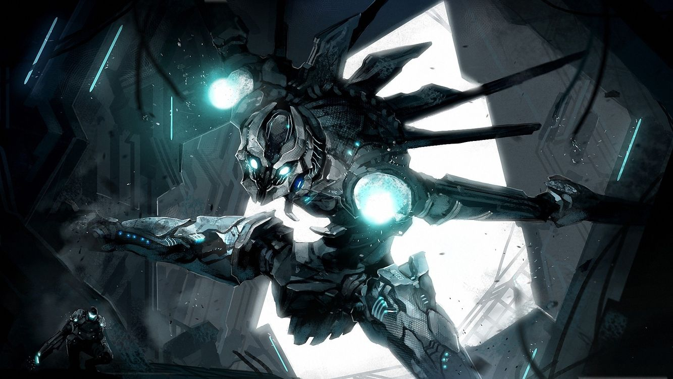 Фото бесплатно робот, глаза, свет, огни, руки, ноги, шлеп, железный, разное, разное