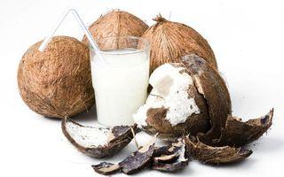 Фото бесплатно стакан, трубочка, кокосовое, молоко, мякоть, скорлупа, напитки