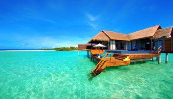 Фото бесплатно пляж, остров, бунгало