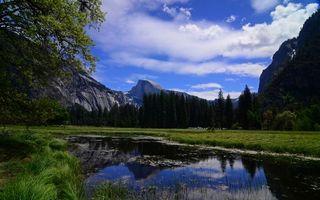 Бесплатные фото вода,река,трава,горы,небо,облака,природа