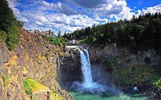 Фото бесплатно вода, река, озеро, водопад, деревья, лес, скалы, пейзажи