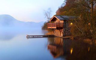 Бесплатные фото дом,озеро,берег,мостик,разное