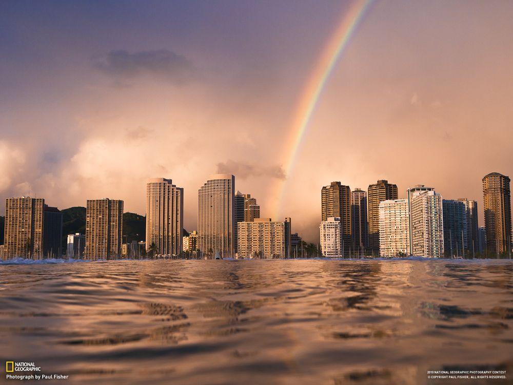 Фото бесплатно город, дома, здание, national geographic, небоскреб, радуга, вода, река, разное
