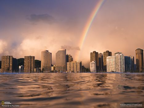 Бесплатные фото город,дома,здание,national geographic,небоскреб,радуга,вода,река