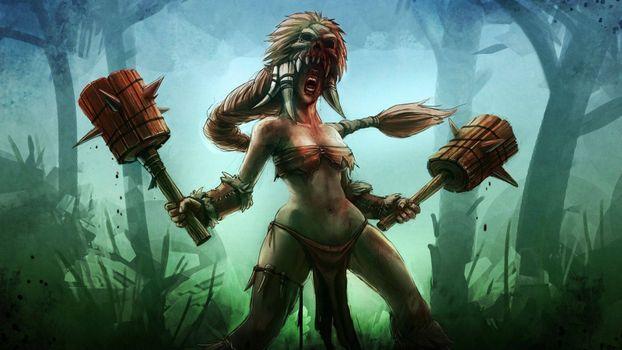 Фото бесплатно Bloodline Champions, нарисованная девушка, оружие