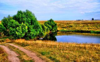 Бесплатные фото деревня,деревья,трава,дорога,небо,облака,река