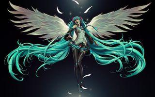 Бесплатные фото девушка,крылья,перья,волосы,голубые,голова,аниме