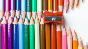 Photo free pencils, multicolored, sharpened