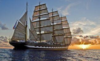 Бесплатные фото корабль,паруса,море,океан,вода,волны,облака