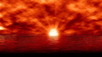 Фото бесплатно море, закат, красный