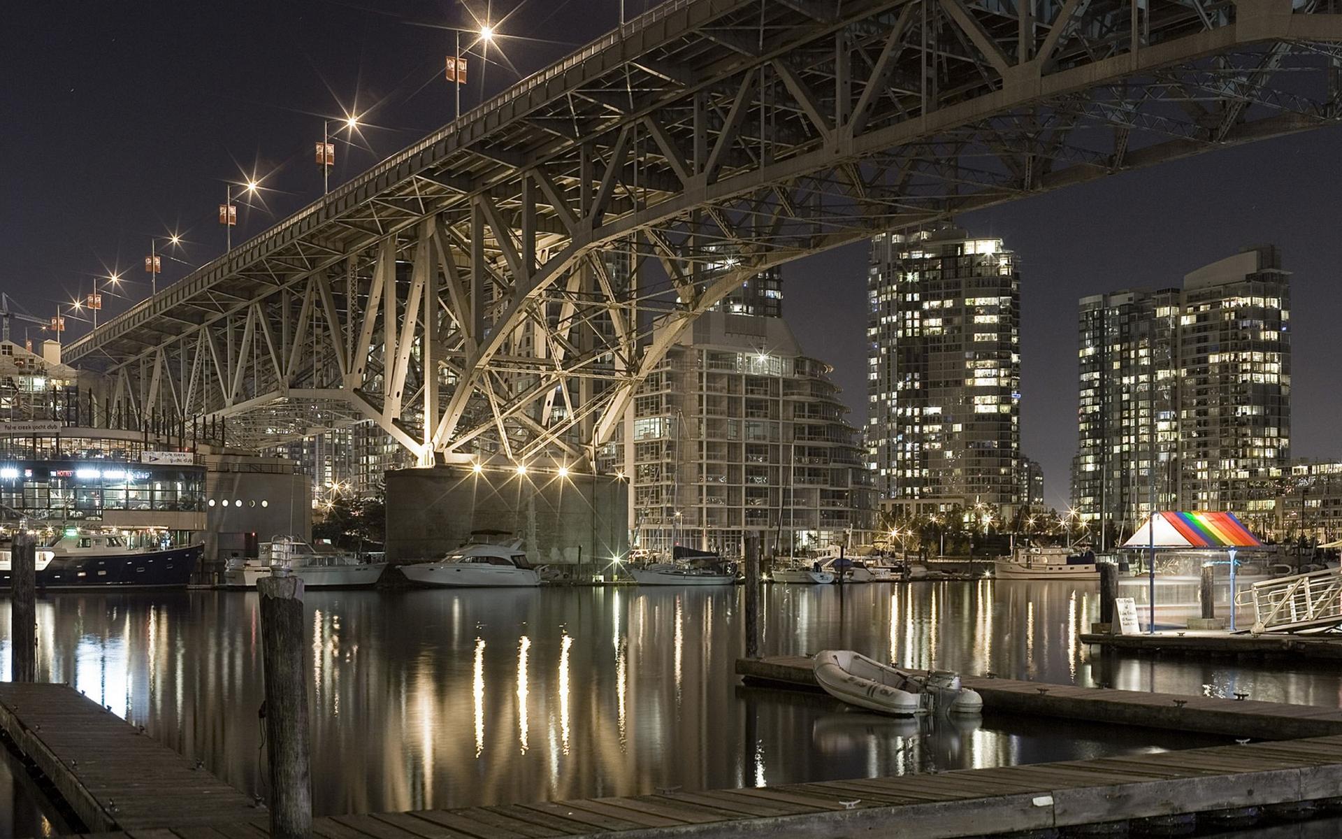 ночь, река, мост