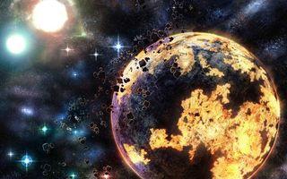 Обои планета, ярко, круглая, осколки, звезды, небо, космос