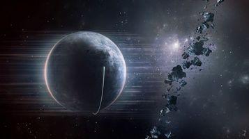 Бесплатные фото планета,камни,астероиды,осколки,свет,лучи,галактики