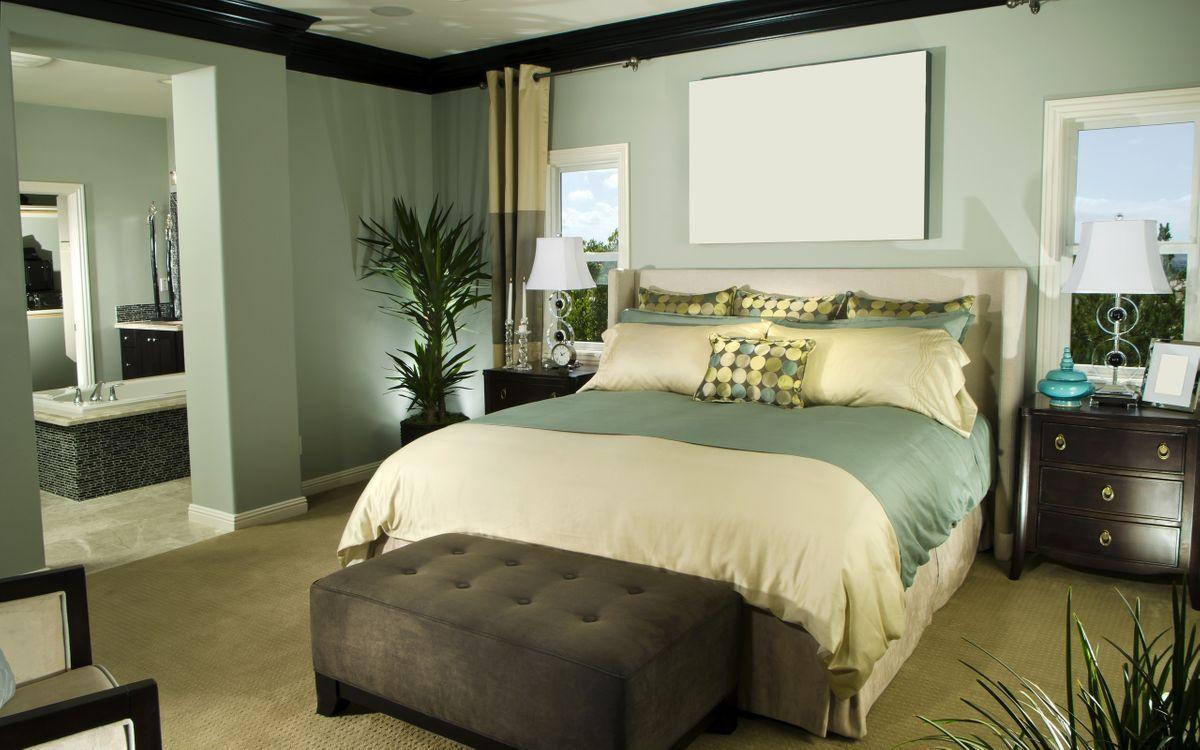 Обои спальня, кровать, подушки картинки на телефон