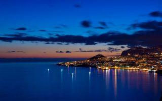 Бесплатные фото вечер,море,берег,город,огни,фонари