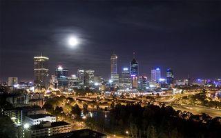 Бесплатные фото здания, небоскребы, дороги, свет, луна, освещение, небо