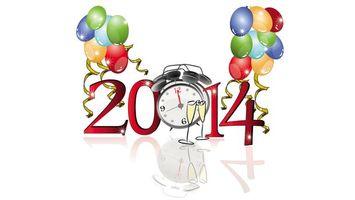 Бесплатные фото 2014,цифры,надпись,воздушные шарики,будильник,бокалы,отражение