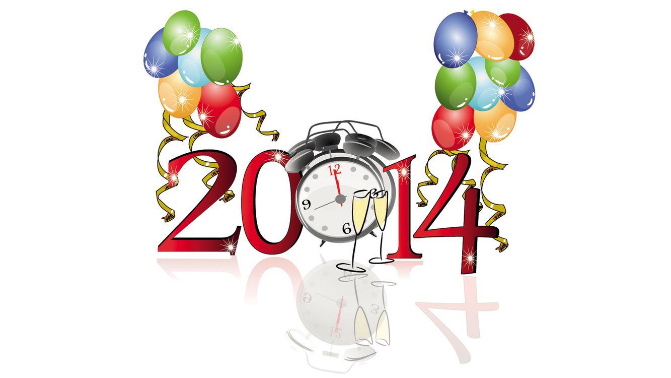 Картинка 2014, цифры, надпись, воздушные шарики, будильник, бокалы, отражение, новый год на рабочий стол. Скачать фото обои новый год
