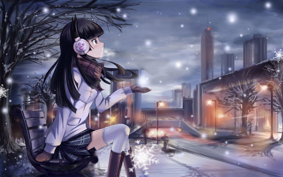Фото бесплатно девушка, город, новый год, мульт, музыка, наушники, скамейка, фонари, снежинки, ладонь, аниме, аниме
