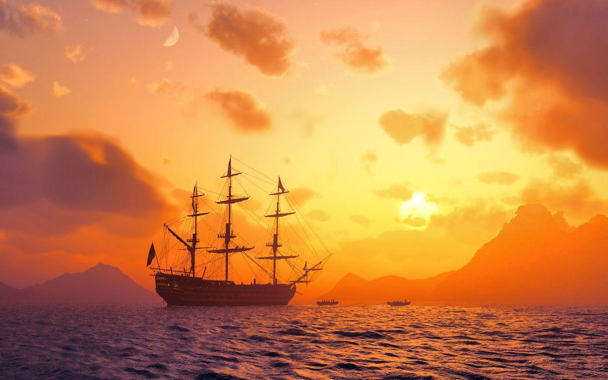 Фото бесплатно корабль, паруса, старый, море, океан, горы, берег, пейзажи, корабли