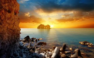 Фото бесплатно скалы, солнце, закат