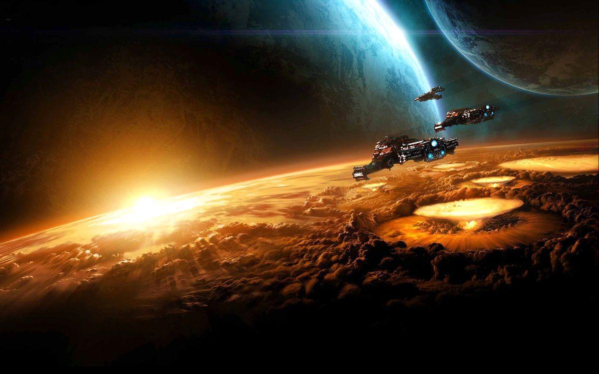 Фото бесплатно фантастика, космос, планеты - на рабочий стол