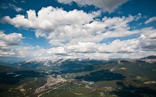 Фото бесплатно горы, трава, облака