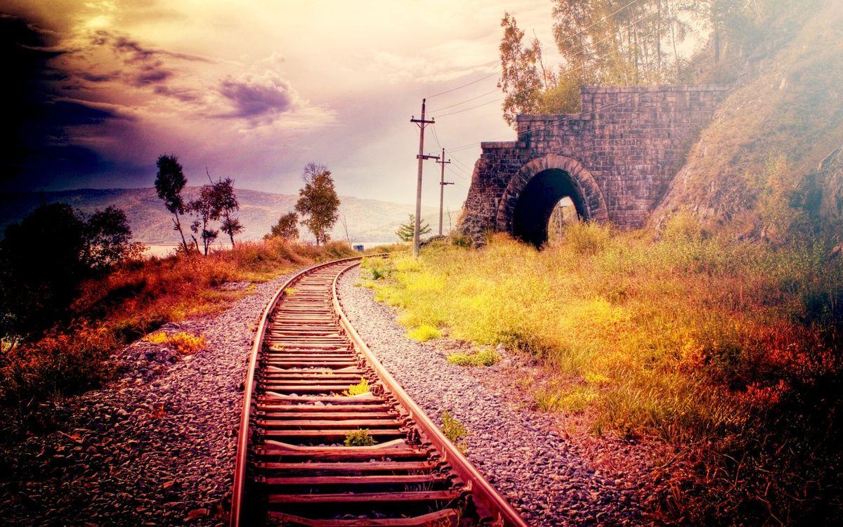 Фото бесплатно железная дорога, путь, столб - на рабочий стол