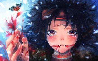 Фото бесплатно кровь, глаза, волосы, девушка, рука, слезы, аниме