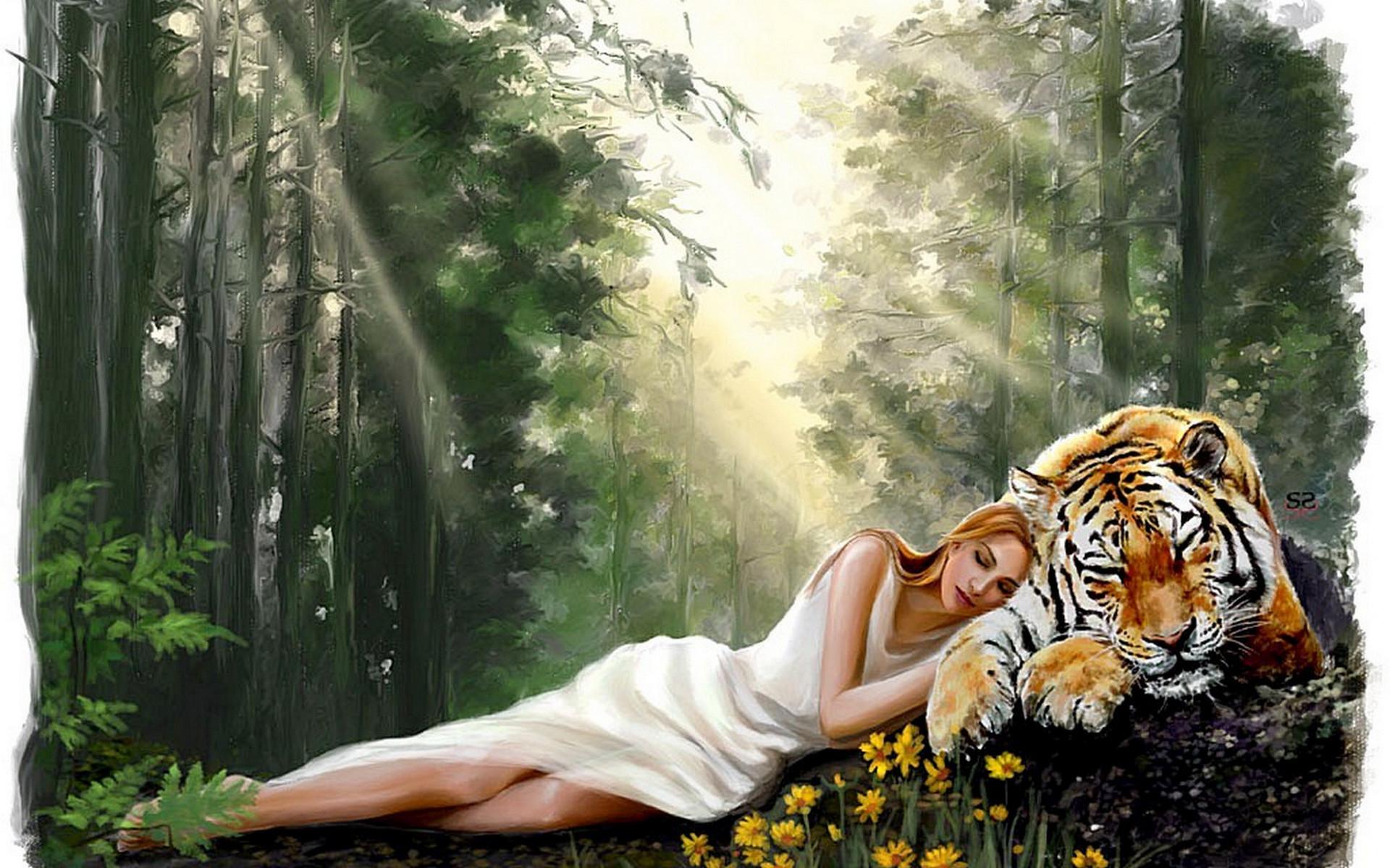 обои лес, девушка, лежит, тигр картинки фото