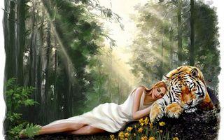 Бесплатные фото лес,девушка,лежит,тигр,цветы,рисунок,рендеринг
