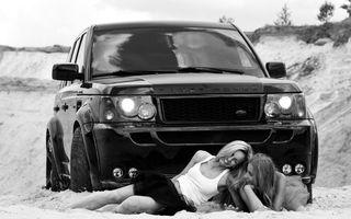 Фото бесплатно машина, черная, песок