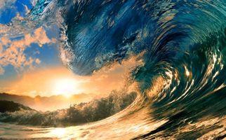 Фото бесплатно море, волна, солнце