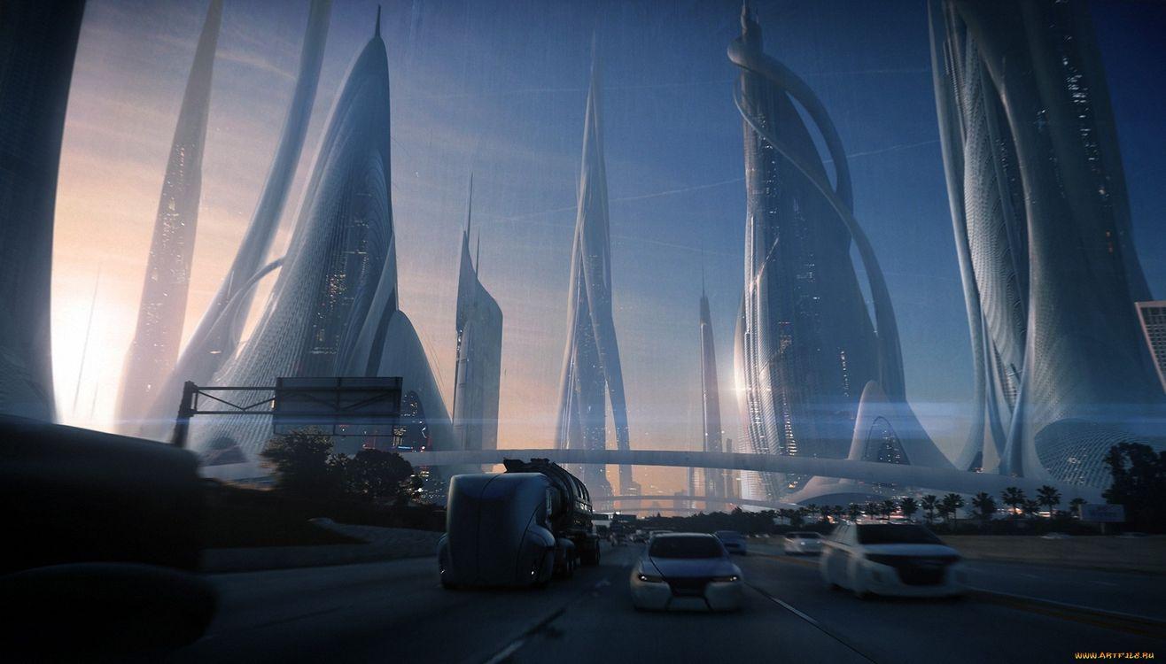 Фото бесплатно мост, город, вечер, свет, фонари, машины, город