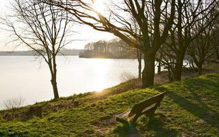 Фото бесплатно озеро, море, вода, волны, берег, лавочка, деревья, лес, парк, трава, природа, пейзажи