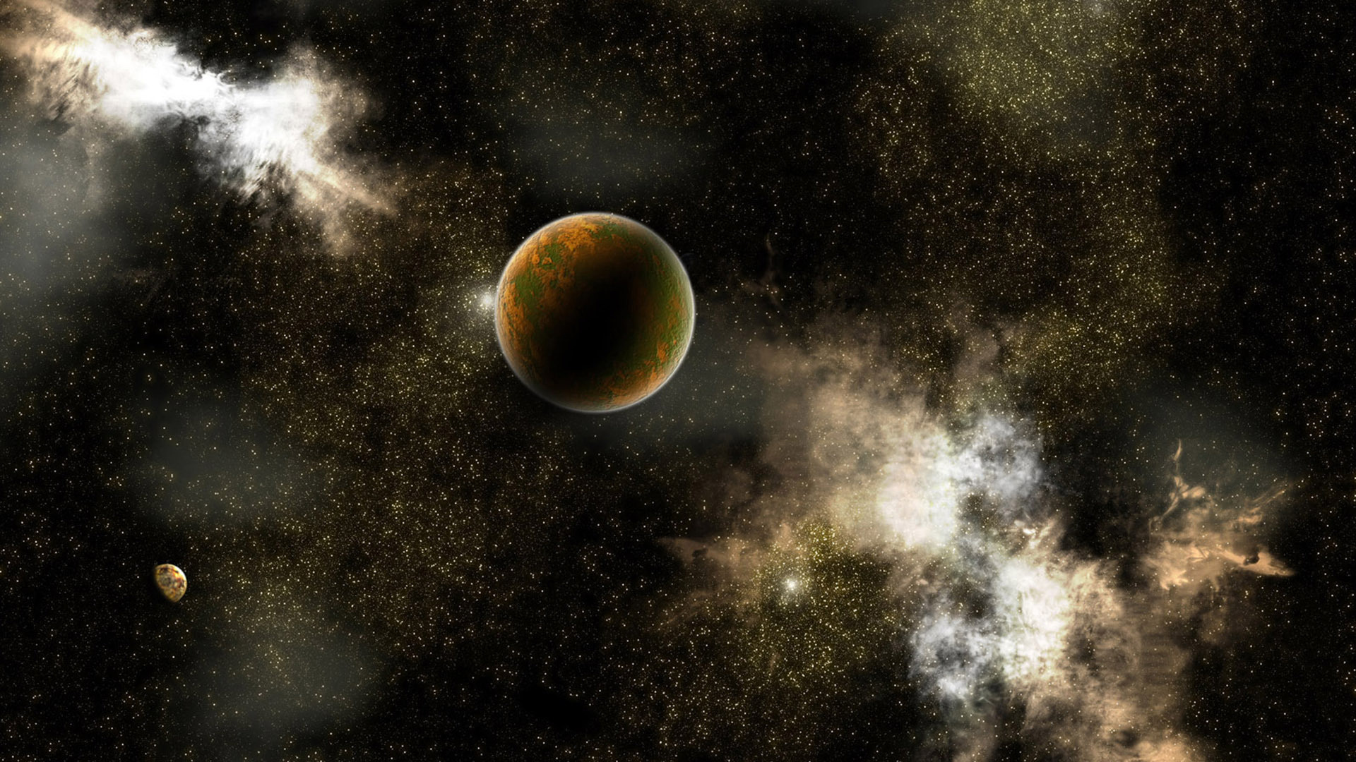 Обои планета, галактика, звезды, свет
