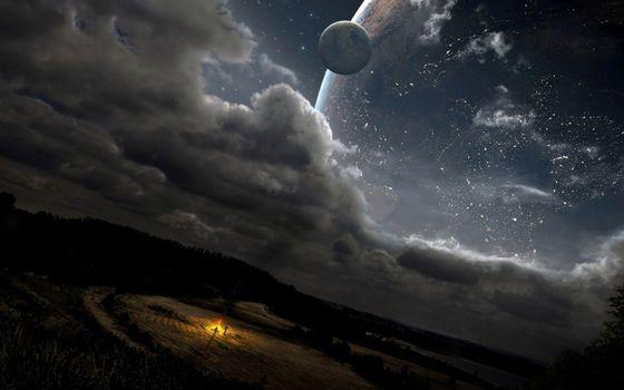 Бесплатные фото планеты,звезды,созвездия,облака,костер,люди,фантастика
