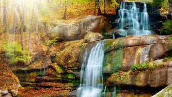 Бесплатные фото река,водопад,камни,осень,листва,деревья,природа