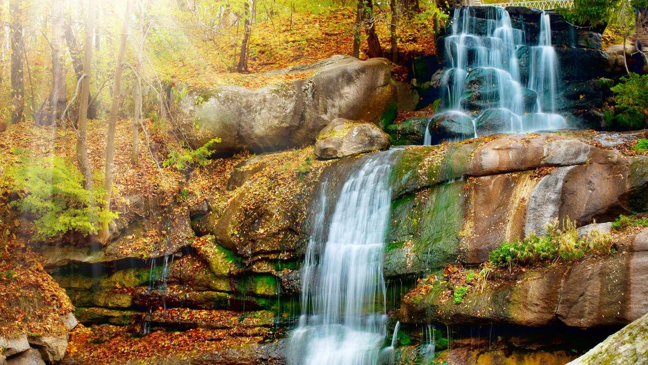 Фото бесплатно река, водопад, камни, осень, листва, деревья, природа, природа