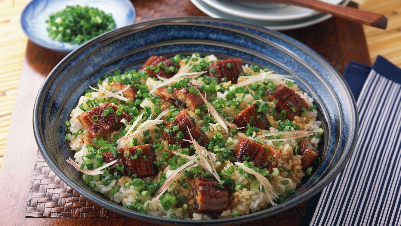 Фото бесплатно рис, мясо, зелень, тарелка, лук, зеленый, еда, еда