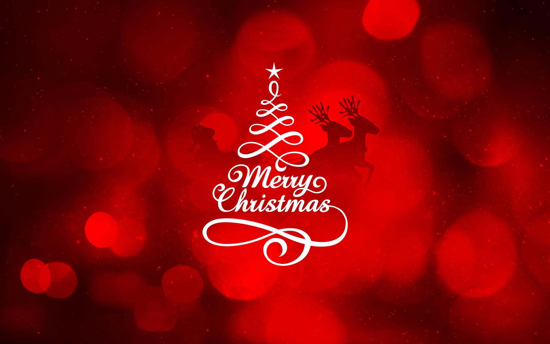 Обои рождество, елка, надпись, олени