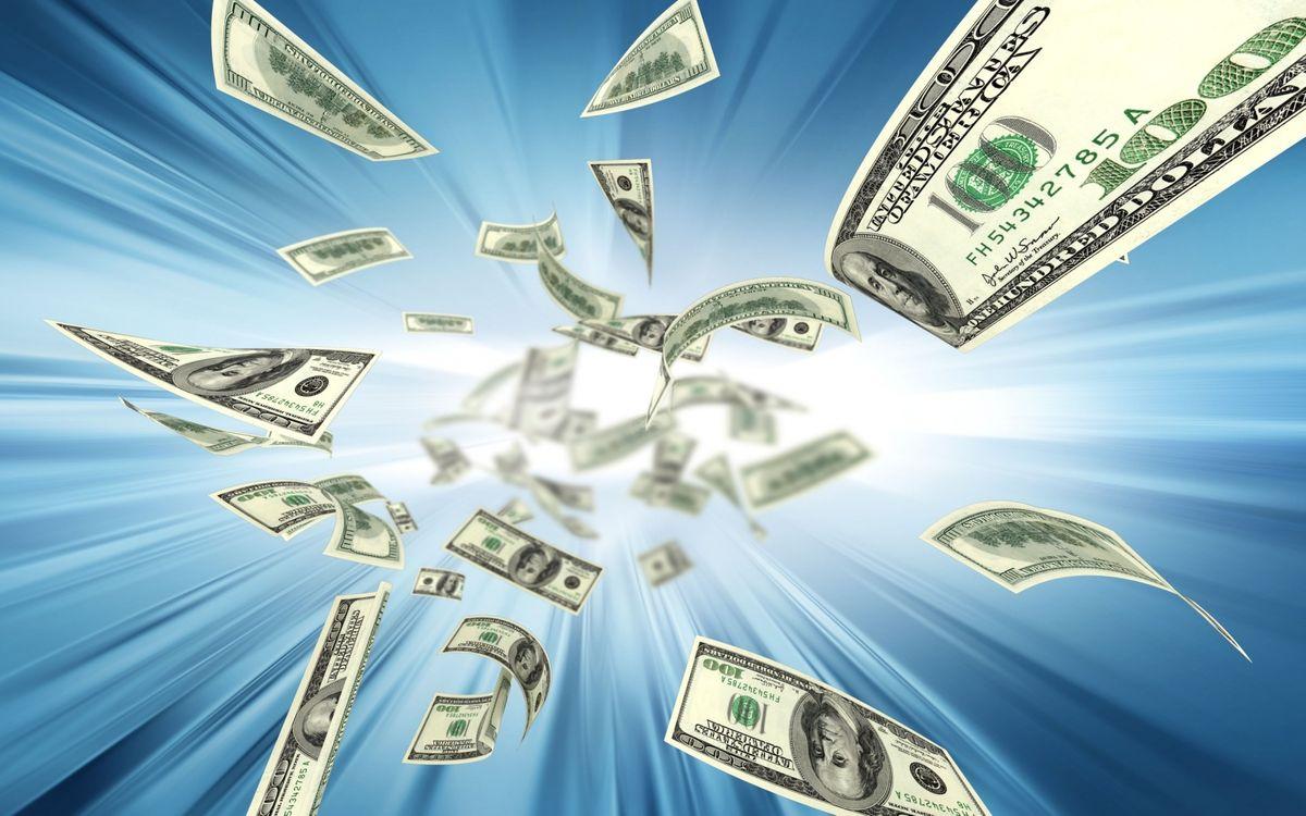 Фото бесплатно сто долларов, банкноты, абстракция, синий, фон, деньги, деньги